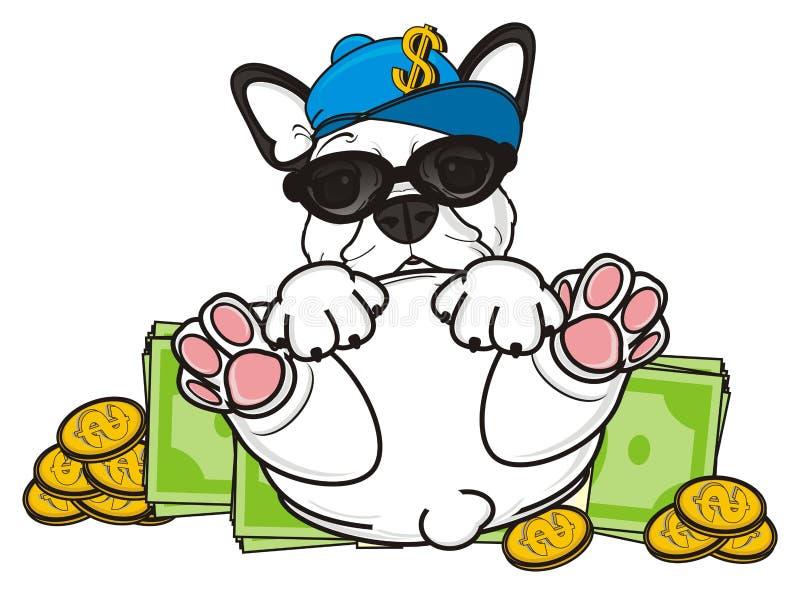 Dogo francés con mucho dinero libre illustration