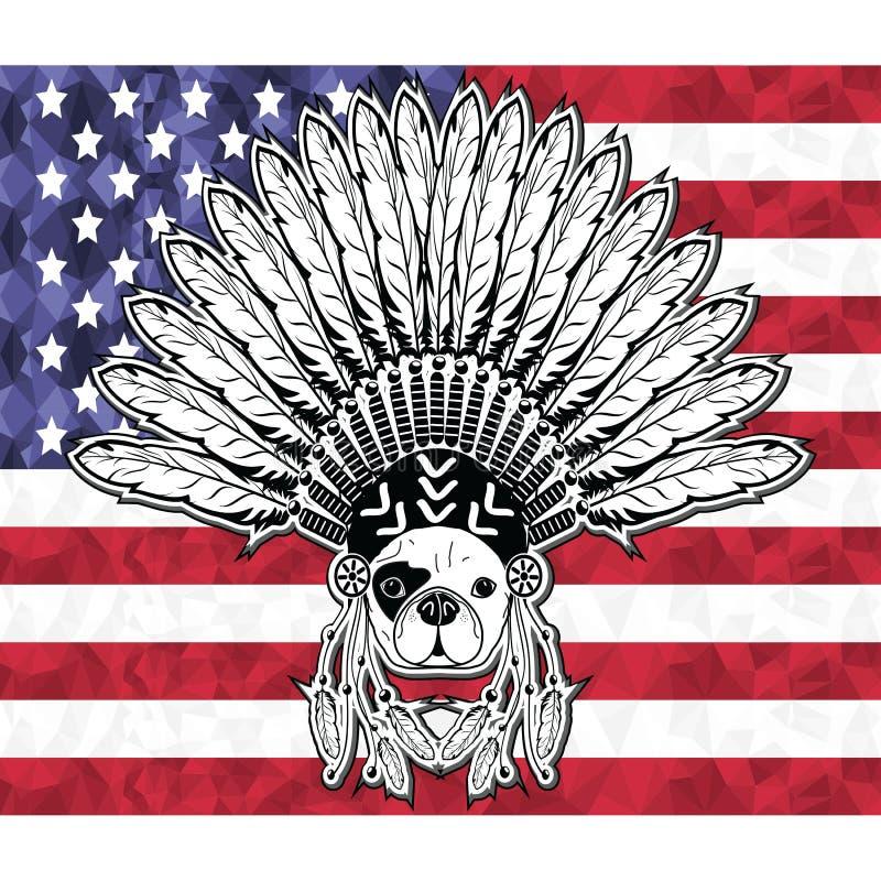 Dogo francés del estilo del guerrero con el tocado tribal con las plumas llanas en la gente de simbolización blanca y negra del n stock de ilustración