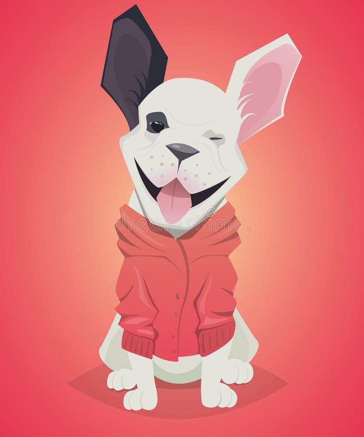 Dogo francés del perro divertido de la historieta stock de ilustración