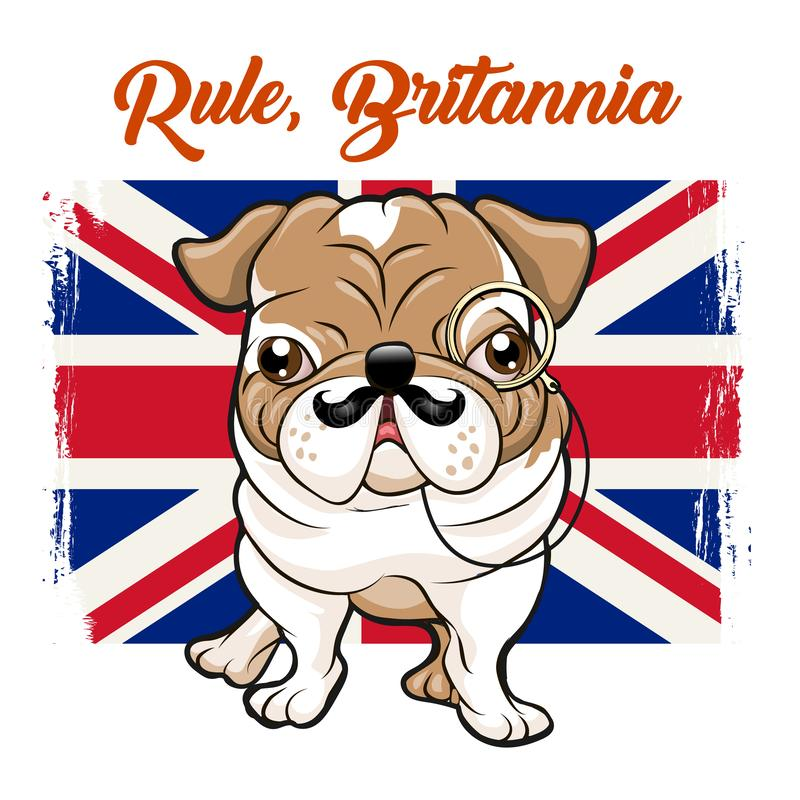 Dogo inglés con los bigotes y el monokle stock de ilustración