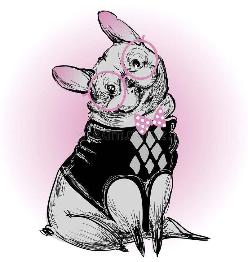 Dogo lindo del inconformista de la moda stock de ilustración