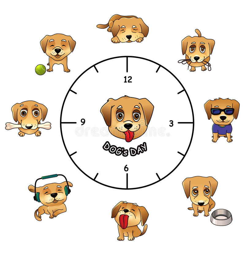 Dogs daily activities funny infographics royalty free illustration