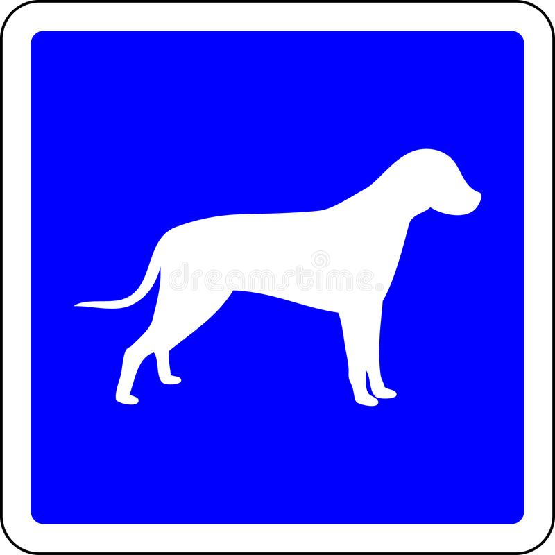 Dogs allowed sign. Dogs allowed blue sign stock illustration