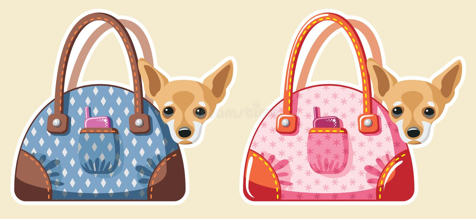 Dogs in bags vector illustration