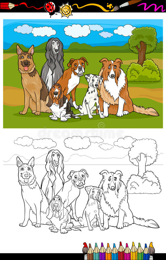 Download Dogs Breeds Cartoon For Coloring Book Stock Vector - Image: 30505810