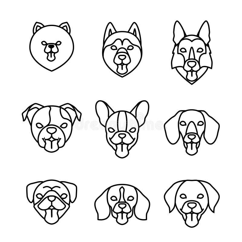Dogs breeds linear icon set. Pomeranian spitz, Pug, Husky, Dachshund, Beagle, German Shepherd, Labrador, French, English stock illustration