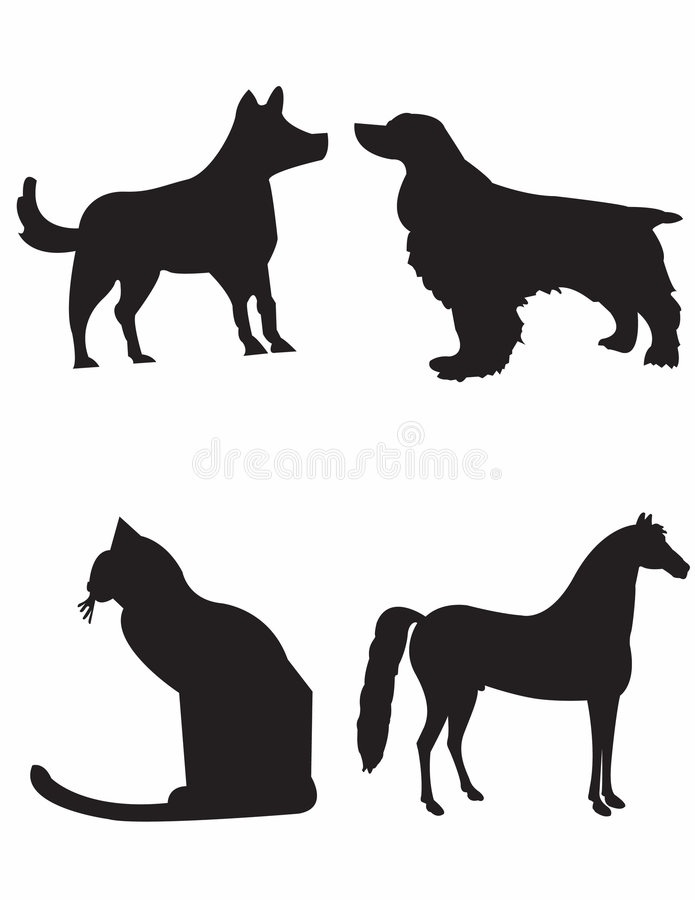 Download Dogs cat and horse stock illustration. Illustration of pedigree - 405095