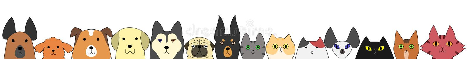 Dogs and cats banner vector illustration