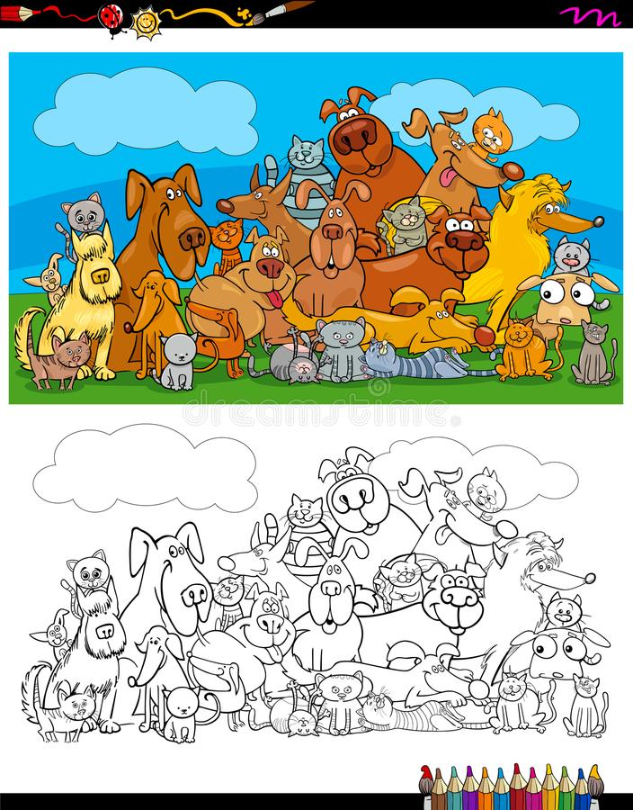 Dogs and cats characters coloring book royalty free illustration