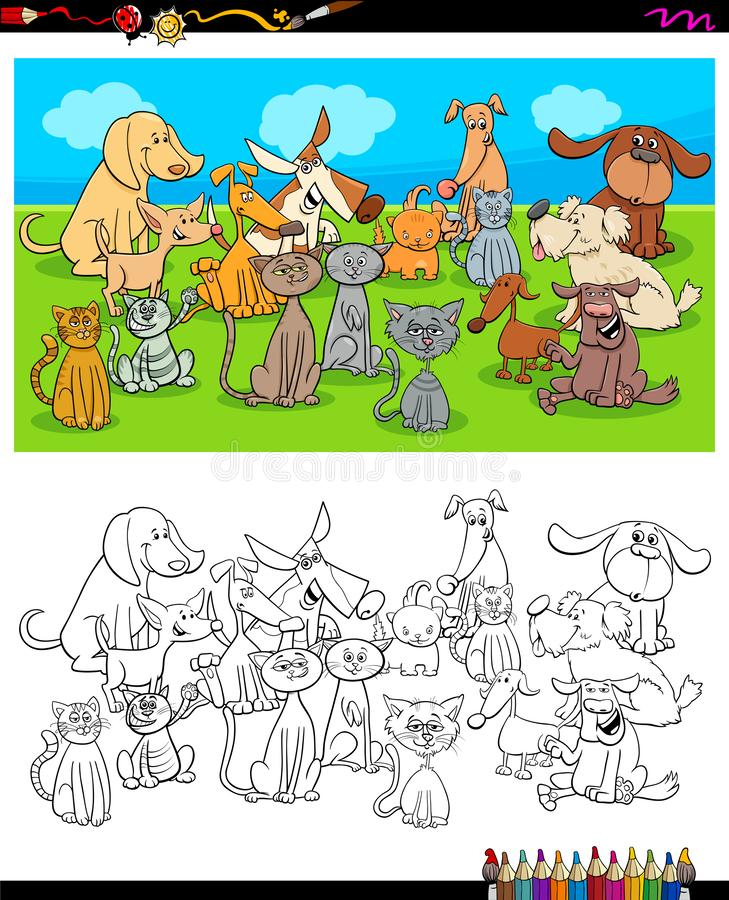 Dogs and cats characters coloring book stock illustration