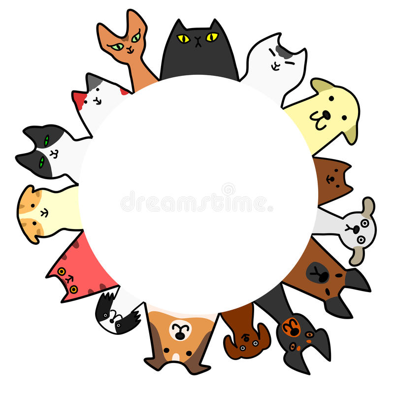 Dogs&cats circle with copy space royalty free illustration