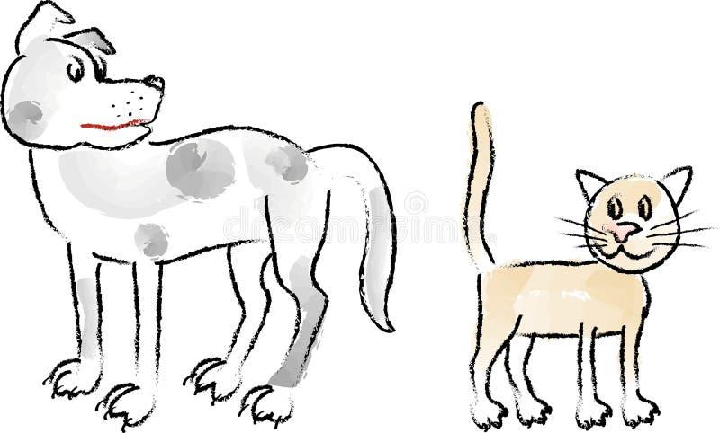 Dogs&Cats_coal-2 illustrazione di stock