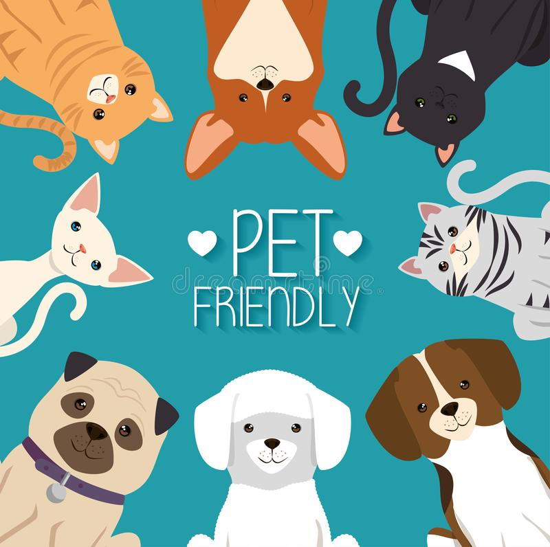 Dogs and cats pets friendly royalty free illustration