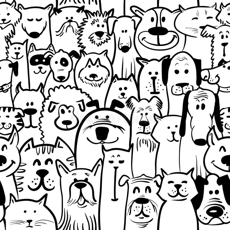 Download Dogs and cats seamless stock vector. Image of doodle - 43504264