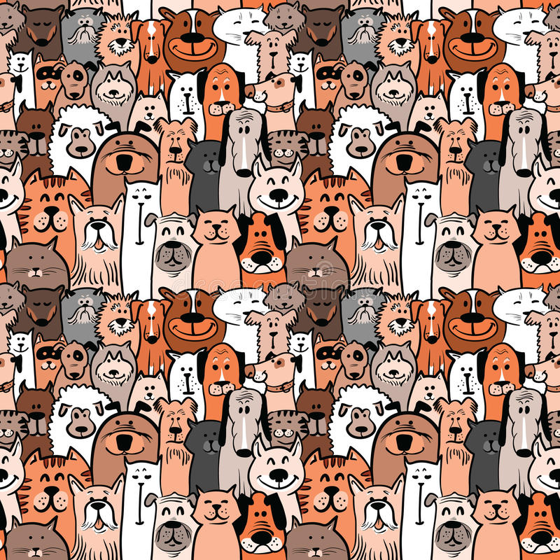 Dogs and cats seamless vector illustration