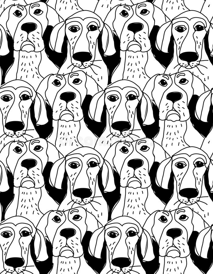 Dogs characters emotions black and white seamless pattern. stock illustration