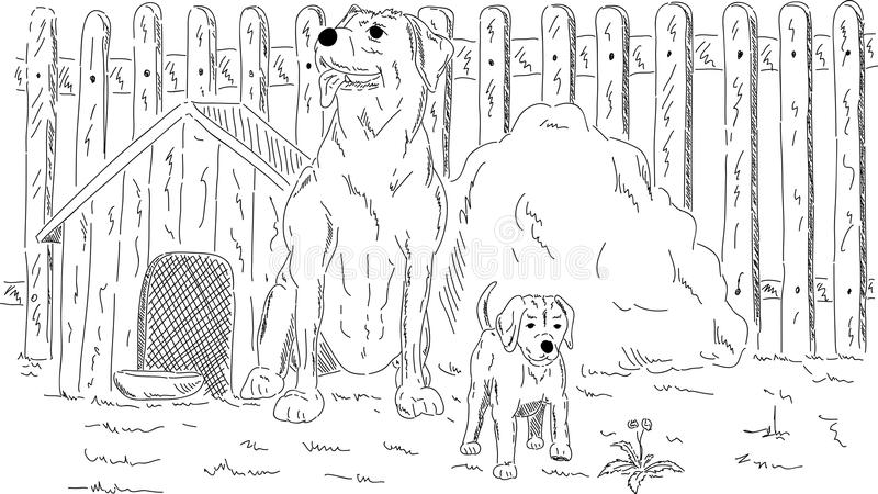 Dogs in the garden royalty free illustration