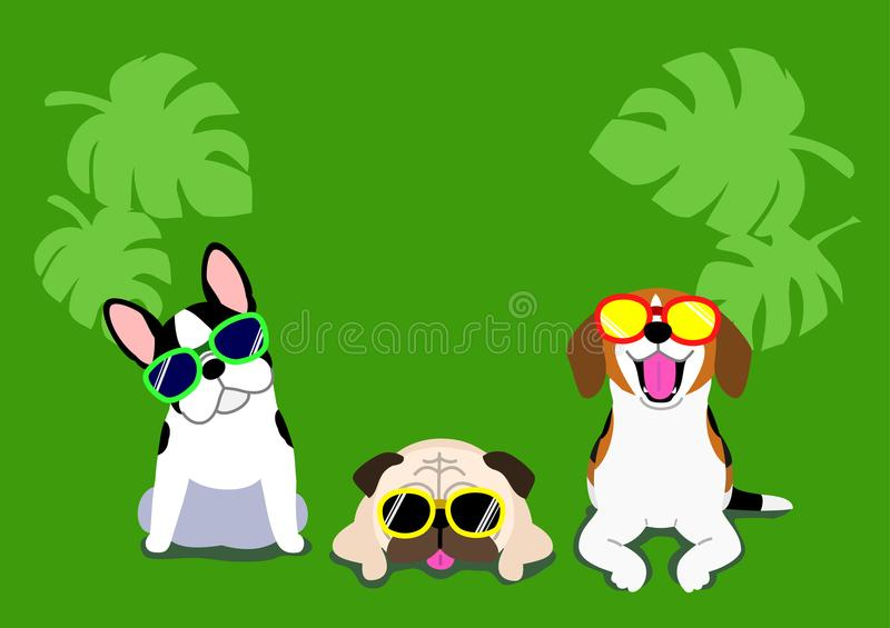 Dogs with glasses background stock illustration