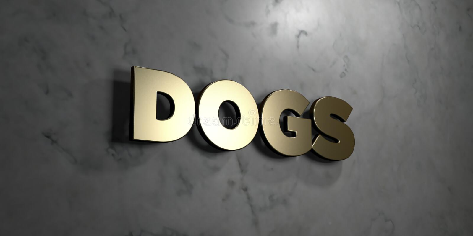 Dogs - Gold sign mounted on glossy marble wall - 3D rendered royalty free stock illustration. This image can be used for an online website banner ad or a print vector illustration