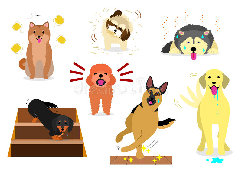 Dogs having troubles in house. House dogs having various troubles for human or themselves royalty free illustration