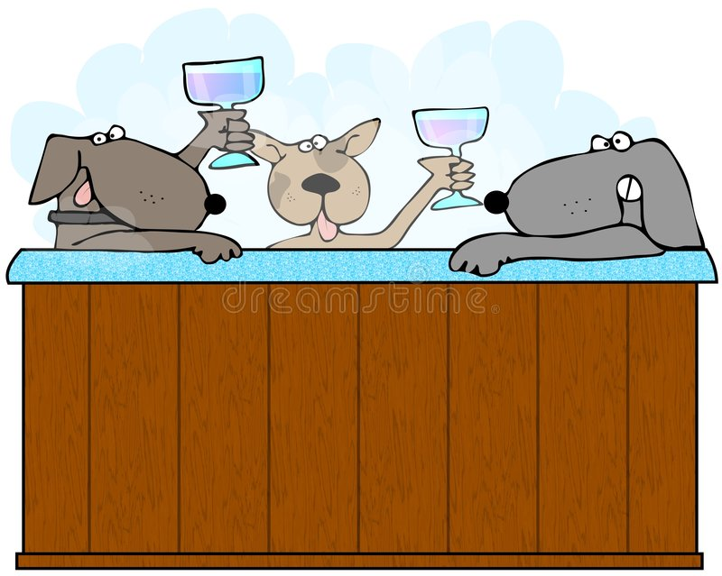 Dogs In A Hot Tub stock illustration