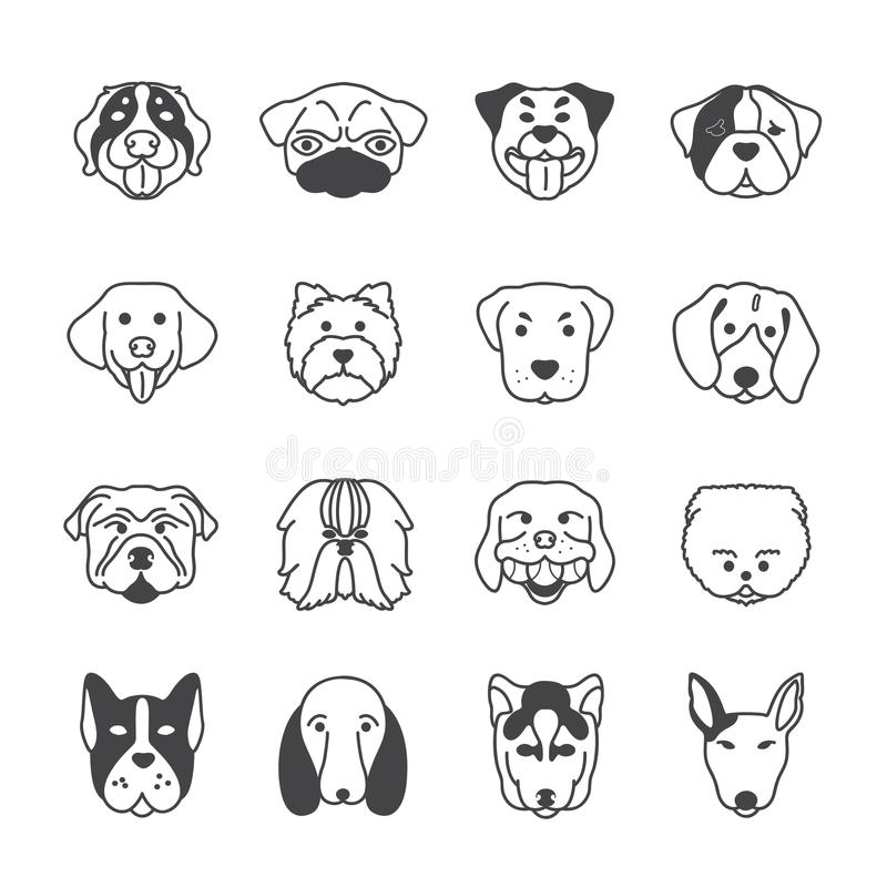 16 dogs icon vector. Set for design royalty free illustration