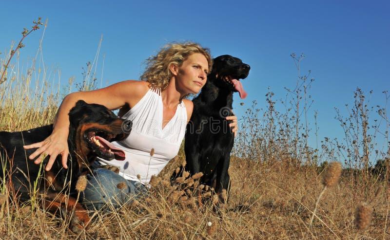 dogs kvinnan royaltyfri bild