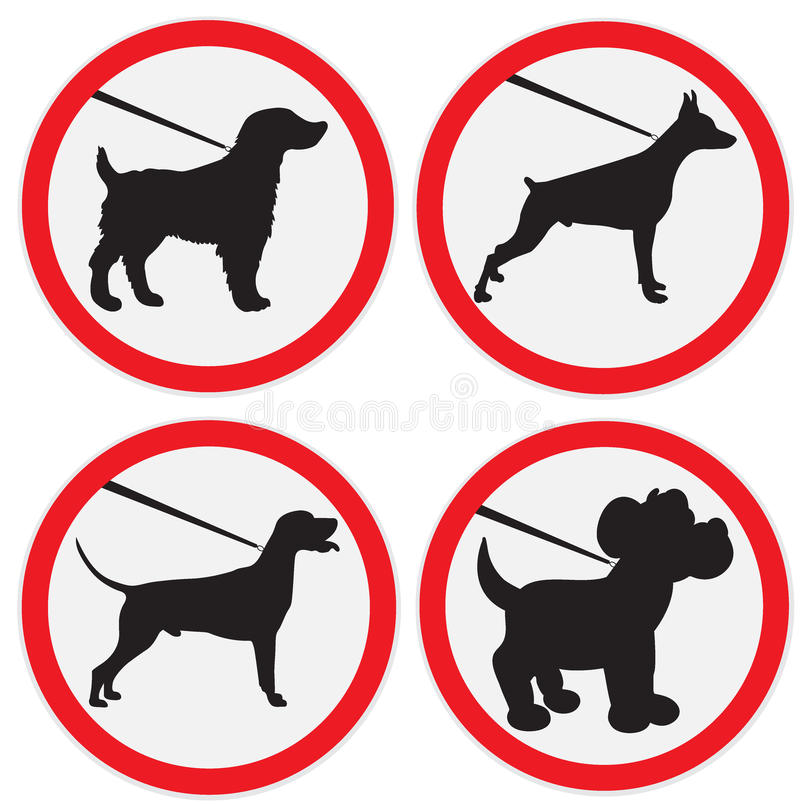Dogs on lead allowed sign. Vector illustration of no dogs on lead sign stock illustration