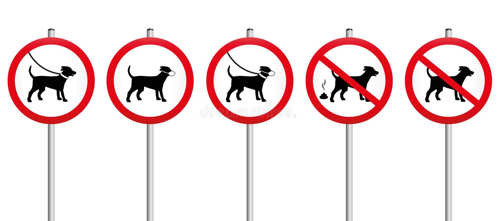 Dogs On Leads Muzzle Dirt Mandatory Sign royalty free illustration