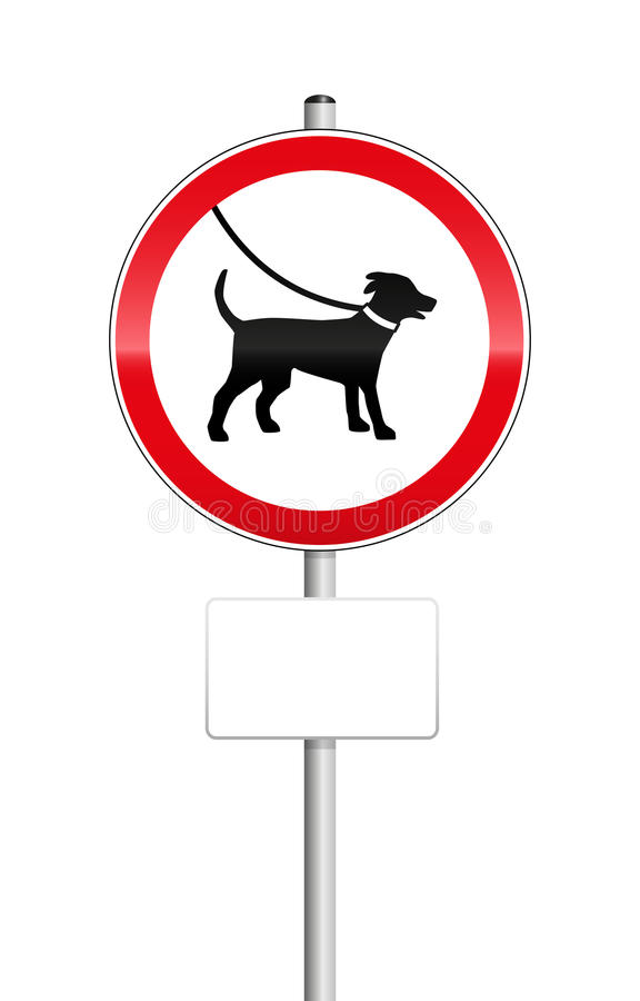 Dogs On Leash Sign. With blank place to be labeled stock illustration