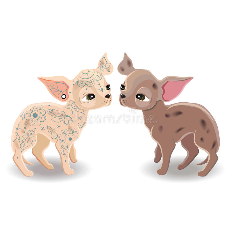 dogs litet royaltyfri illustrationer
