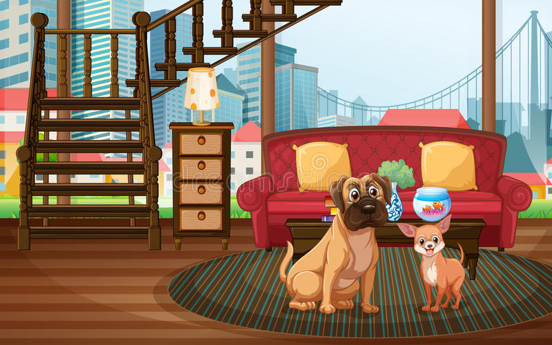 Dogs and living room. Illustration of dogs sitting in the living room stock illustration