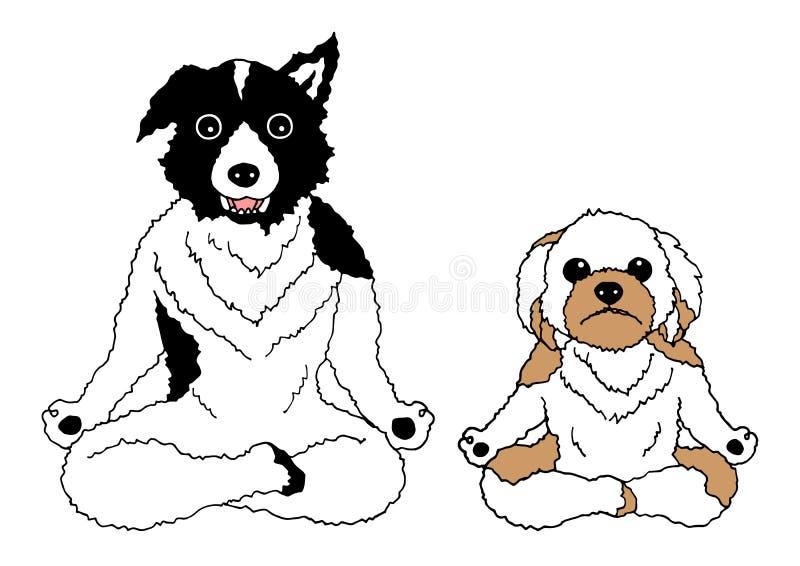 Dogs lotus pose yoga chakra, vector drawing hand drawn funny. Design illustration stock illustration