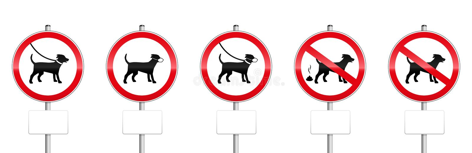 Dogs Mandatory Signs With Blank Panels stock illustration