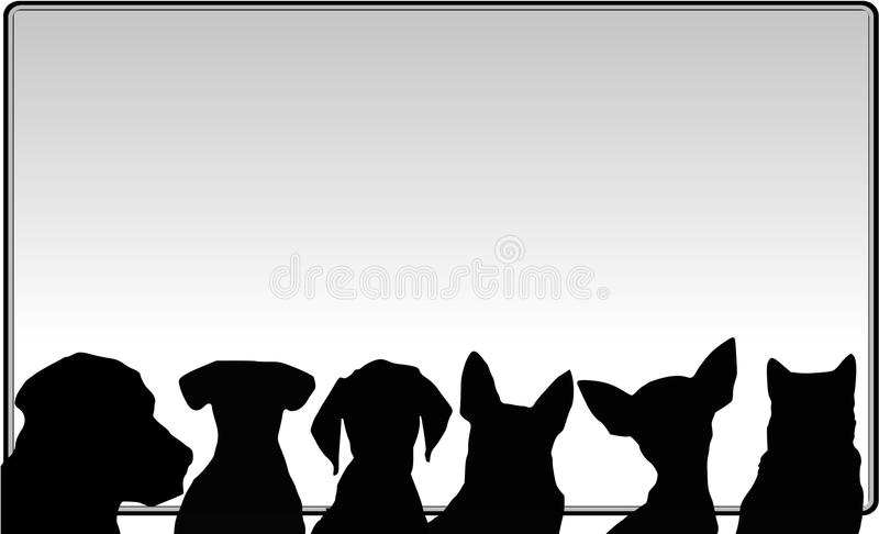 Dogs and messageboard. vector file royalty free illustration