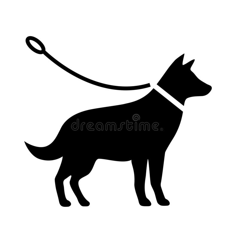 Dogs must be on a leash vector pictogram stock illustration