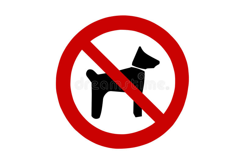 Dogs not allowed sign. On white vector illustration
