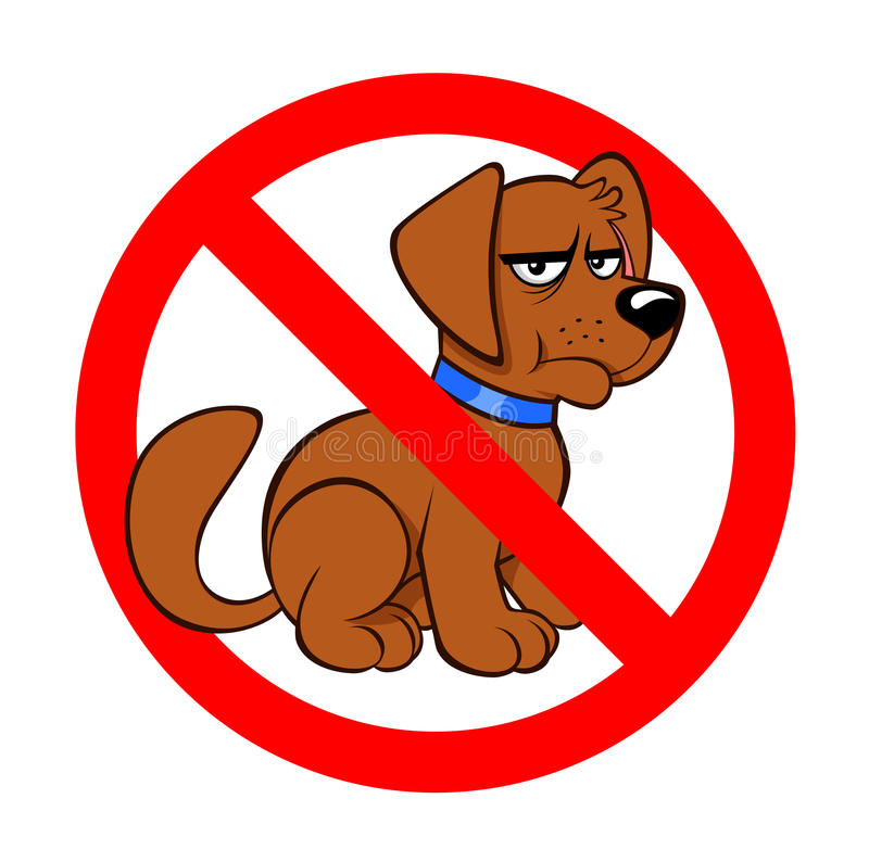 Dogs prohibited sign. With a gloomy dog on the white background royalty free illustration