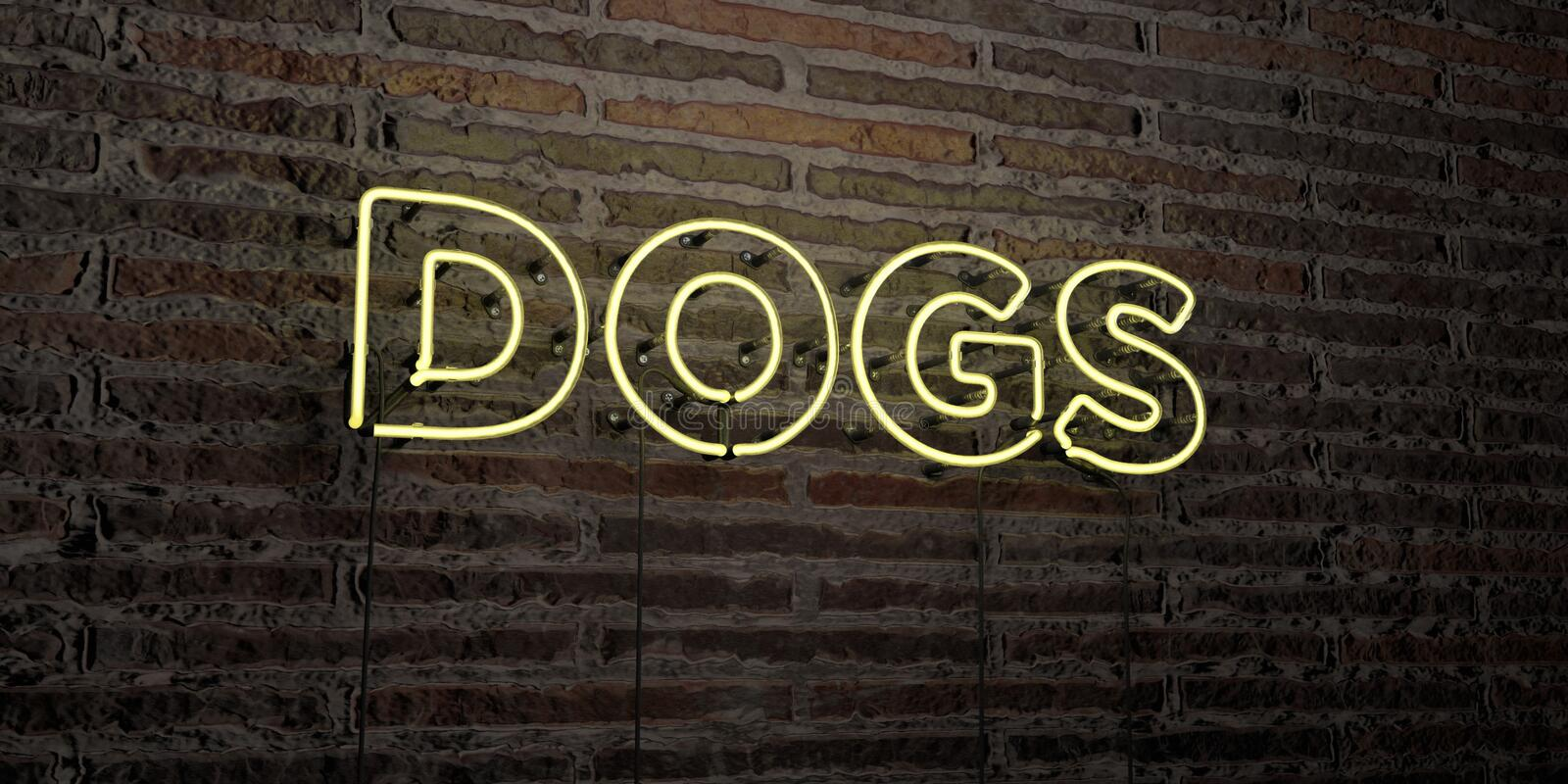 DOGS -Realistic Neon Sign on Brick Wall background - 3D rendered royalty free stock image. Can be used for online banner ads and direct mailers vector illustration