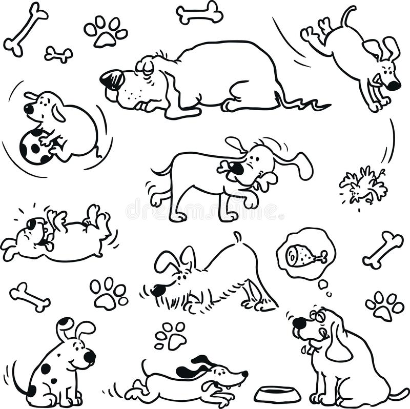dogs roligt vektor illustrationer