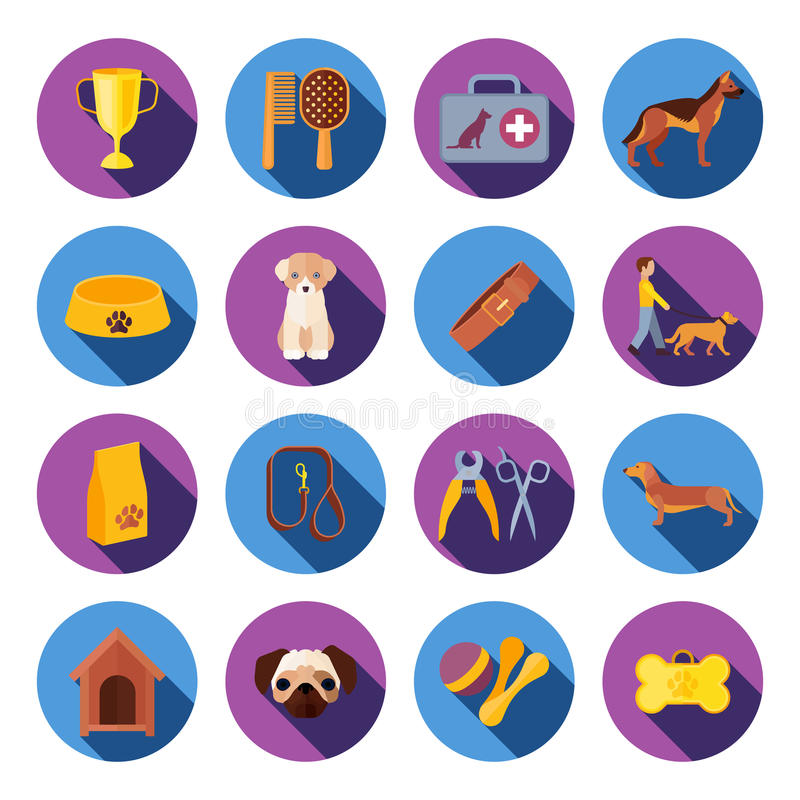 Dogs round flat icons set. Dogs with food veterinary kit and accessories flat round with slant shadow icons set vector isolated illustration royalty free illustration