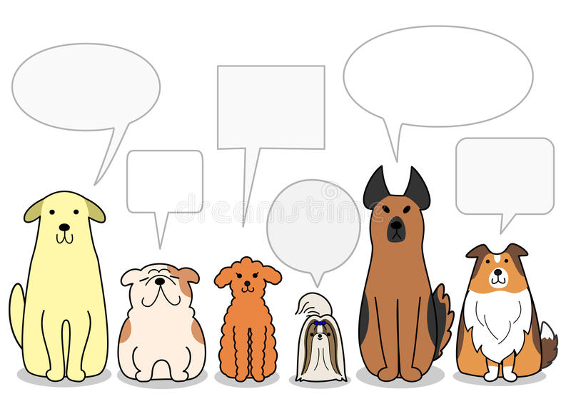 Dogs in a row with speech bubbles royalty free illustration