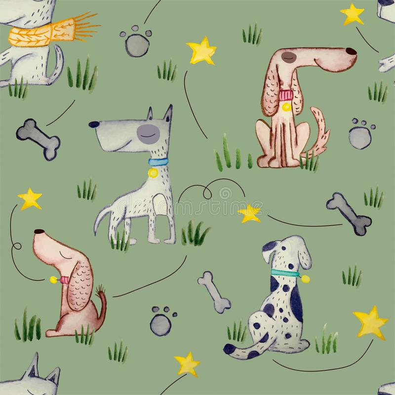 DOGS SEAMLESS REPEAT PATTERN TILE royalty free illustration