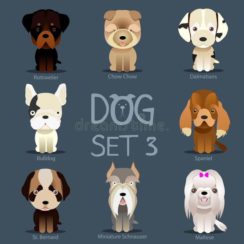 Dogs Set 3. Vector breed of dogs royalty free illustration