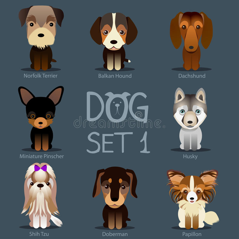 Dogs Set 1. Vector breed of dogs stock illustration