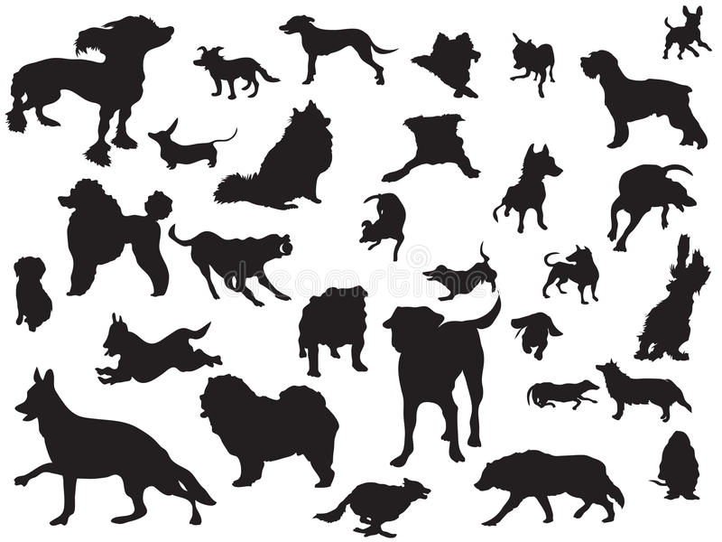 Dogs silhouette set vector illustration