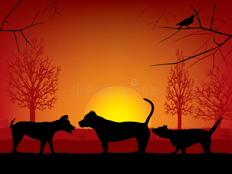 Dogs sniffing royalty free illustration
