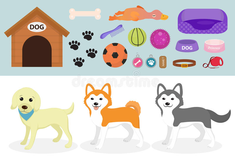 Dogs stuff icon set with accessories for pets, flat style, isolated on white background. Domestic animals collection stock illustration