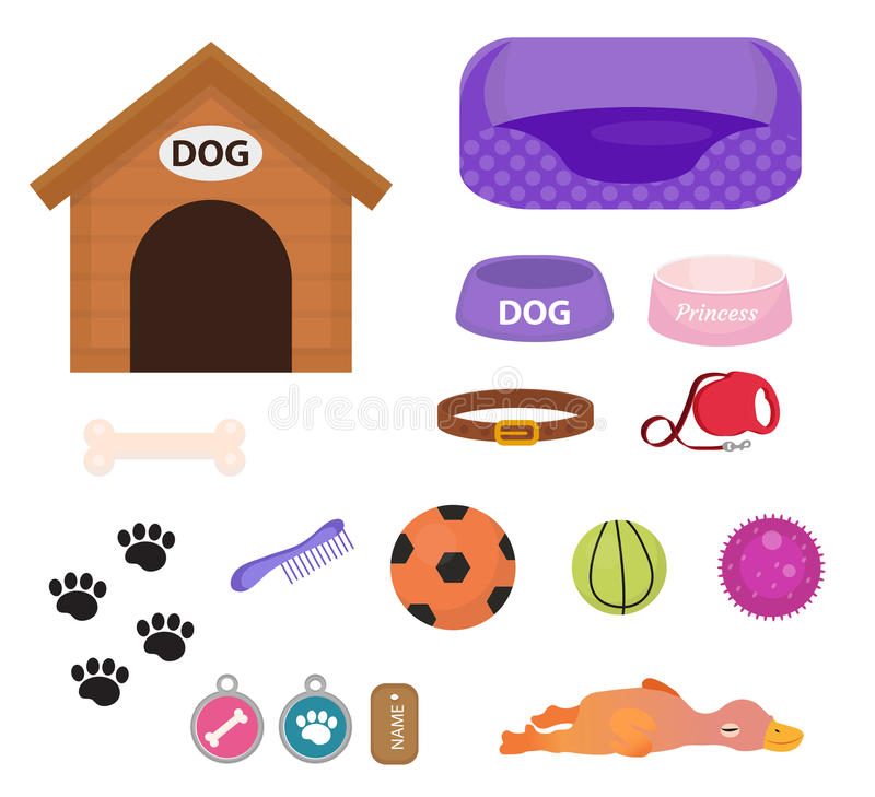 Free Dogs Stuff Icon Set With Accessories For Pets, Flat Style, On White Background. Puppy Toy. Doghouse, Collar Stock Photos - 87551553
