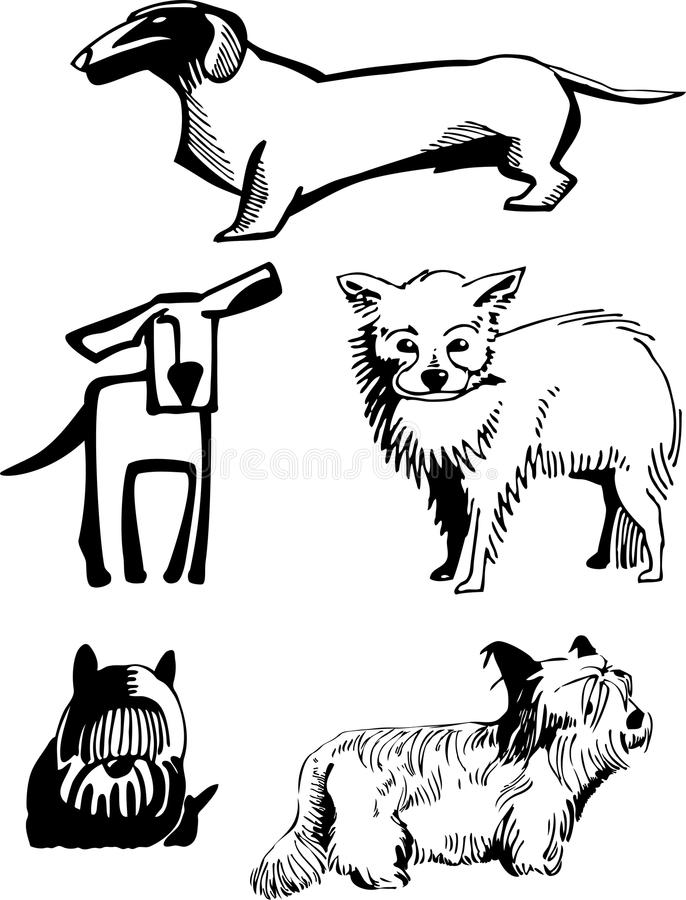 dogs stylization stock illustrationer